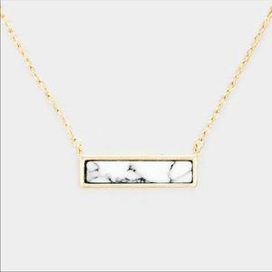 Howlite Rectangular Bar Pendant Necklace